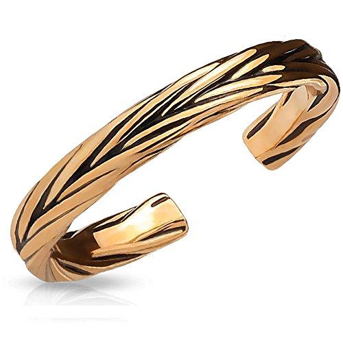 Bungsa Rosegold - Toe Ring Verziert für Damen ~in 3 Farben Wählbar~ Silber Gold Rosé (Zehring Fussschmuck Fussring Toe-Ring Nail Ring Nagelring biegbar Verstellbar)