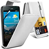(Weiß) Huawei Ascend Y530 Schutzfolie Faux Credit / Debit Card Leder Flip Skin Case Hülle Cover, Aus- und einfahrbarem Touch Screen Stylus Pen & LCD Screen Protector Guard von Spyrox