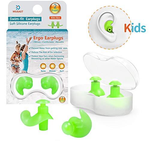 MUEAST Ohrstöpsel Schwimmen Kinder, 2 Paar wasserdichte Wiederverwendbare Silikon Ohrstöpsel für Schwimmer beim Duschen beim Surfen und Anderen Wassersportarten (Grün)