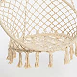 Cream coloured hanging chair with round quilted cotton seat cover height 125 cm x diameter 80 cm