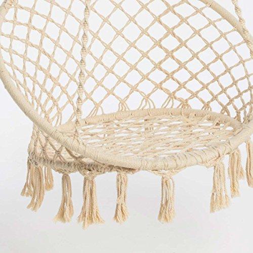 Hängesessel zum Aufhängen – mit rundem Sitzkissen – inkl. Spreizstab – Weiß Beige – Belastbarkeit max. 100 kg - 2