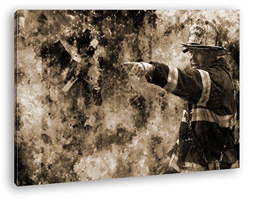 Feuerwehr Illustration Format: 120x80 Effekt: Sepia als Leinwandbild, Motiv fertig gerahmt auf...