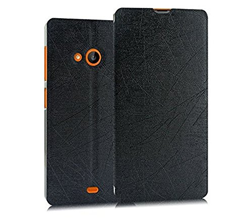 Heartly Premium Luxury PU Leather Flip Stand Back Case Cover For Microsoft Nokia Lumia 535 Dual Sim – Best Black