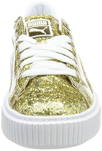 Puma Basket Platformglitter, Scarpe da Ginnastica Basse Donna Gold