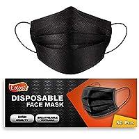 50 PCS Erwachsene, Einwegschutz, Motorbike_Face_Masks Atmungsaktiv, Anti Haze Family Cover Sturmhauben Bandanas-Schwarz