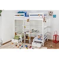 Preisvergleich für Kinderbett/Etagenbett / Funktionsbett Tim (umbaubar zu einem Tisch mit Bänken oder zu 2 Einzelbetten) Buche massiv weiß lackiert, inkl. Rollrost - 90 x 200 cm