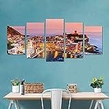 MYLOOO 5 Teile/Satz 3D Italien Cinque Terre Farbe Haus Kombination Wandaufkleber Steuern Dekor Wohnzimmer Schlafzimmer Poster DIY PVC Meer Kunstwand