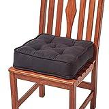 Homescapes Coussin de Chaise en Coton, avec Rembourrage épais de 10cm, Couleur: Noir