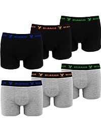 BRUBAKER Boxer rétro - Lot de 6 - Homme - Noir / Gris chiné avec Logos contrastés