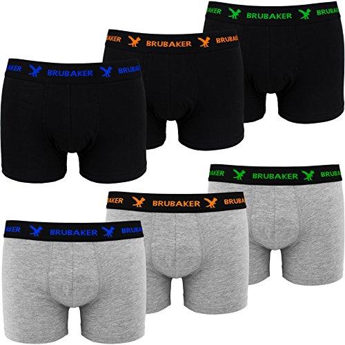 Brubaker Boxer rétro - Lot de 6 - Homme - Noir/Gris chiné avec Logos contrastés - Taille L