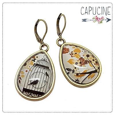 Boucles d'Oreilles Pendantes Gouttes avec Cabochon en Verre Cage aux Oiseaux et Arbre en Fleurs Marron et Noir