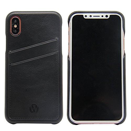 iPhone X Leder Brieftasche Hülle , Handy-Karte Holster Case Cover mit Visitenkarte Halter für Apple iPhoneX (5.8 Zoll, schwarz) schwarz