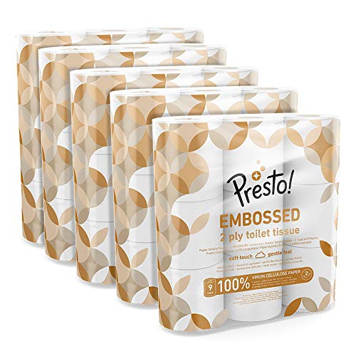 Amazon Brand - Presto! 2-Ply Embossed Toilet Tissues,45 Rolls (5 x 9 x 200 sheets)