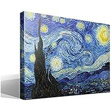Canvas lienzo bastidor La Noche Estrellada de Vincent Willem van Gogh - Ancho: 55cm - Alto: 40cm - Bastidor: 3cm - Imagen alta resolución - Impresión sobre Lienzo de Algodón 100% - Bastidor de madera 3x3cm - reproduccion digital de obras de arte - Cuadro de calidad superior - Fabricado en España