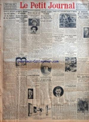 PETIT JOURNAL (LE) [No 23273] du 05/10/1926 - PROBLEMES DU TEMPS PRESENT - LA VIE CHERE ET LA BAISSE DE LA NATALITE PAR LOUIS SONOLET - UN NOUVEL INCIDENT EN RHENANIE - UN SOUS OFFICIER FRANCAIS POIGNARDE PAR UN ALLEMAND A NEUSTADT - LA REOUVERTURE DE LA SAISON DE BOXE A PARIS AUX VERITES DE LA PALISSE PAR MONSIEUR DE LA PALISSE - EN SORTANT DE MONTMARTRE - DRAME DANS UN TAXI - LA TERRE TREMBLE ENCORE - M PONSOL S'EMBARQUE AUJOURD'HUI POUR LA SYRIE - ETRANGE ACCIDENT EN SUISSE UN TRAIN DE MARCH par Collectif