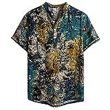 Camisetas Hombre Manga Corta SHOBDW 2020 Sólido Cuello Mao Camisa Lino Hombre Casual Moda Blusa Slim Fit Tops Hombre Tallas Grandes XXL