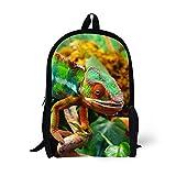 Kinder Schule Rucksack Alter 6-16 Polyester 17 Zoll Tier Tasche (Chamäleon 1)