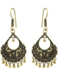 Spargz Floral German Silver Antique Gold Plated Artificial Jewellery Jhumki Earrings For Women And Girls AIER...