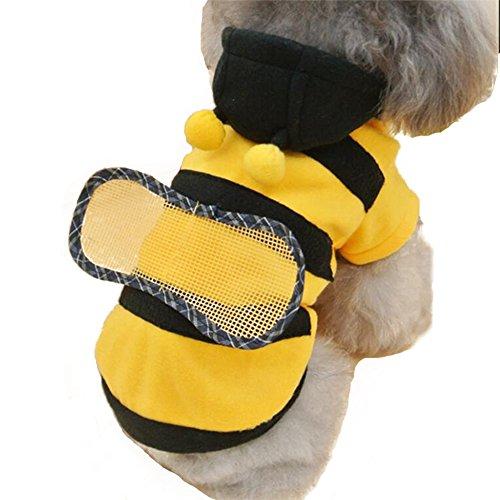 NACOCO Hund Bee Kostüm Pet Cute Hoodies Puppy Kleidung Katze Bumblebee für kleine und mittelgroße Hunde, XL, (Hunde Biene Kostüm Xl)
