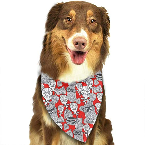 Rghkjlp Hipster Owls in Glasses with Tender Roses Pet Bandana Washable Reversible Triangle Bibs Scarf - Kerchief for Small/Medium/Large Dogs & Cats