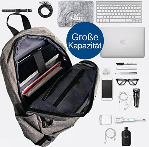 Preisvergleich Produktbild Rucksack mit USB Anschluss, Canvas Schultasche Daypack 17 Zoll Laptop für Business Uni Arbeit Grau von Chocoman