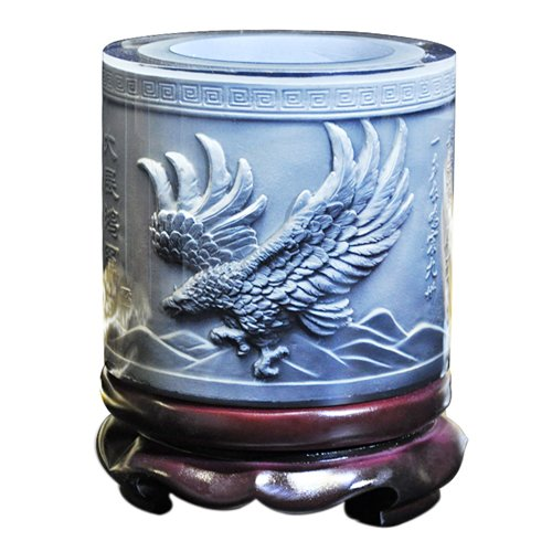 Zhongcheng Briefpapierhalter Hochwertiges Kristallharzmaterial Eagle Wings Geprägtes Muster Ornamente Trommelform Rotation Stifthalter -