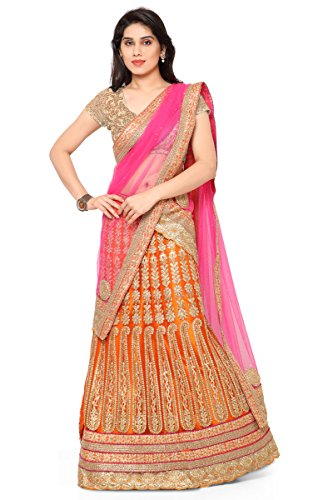 NAAIDAAKHO ORANGE AND PINK COLOR LEHENGA CHOLI