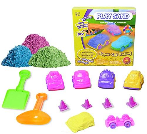 Preisvergleich Produktbild PLAY SAND Super Car Racing Kinetischer Sand 3 Farben mit Zubehörteil