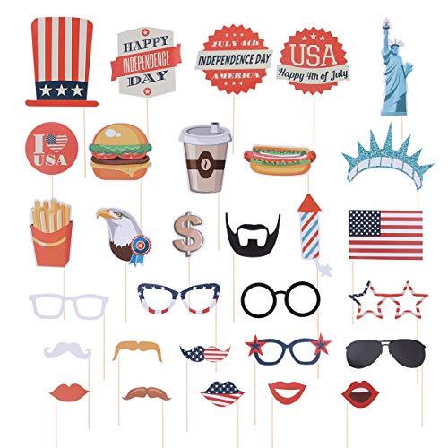 Amosfun 30 Stücke Amerika Photo Booth Requisiten Set Aufkleber Lippen Brille Schnurrbärte Hamburger für Unabhängigkeitstag Amerika Thema Party Dekorationen