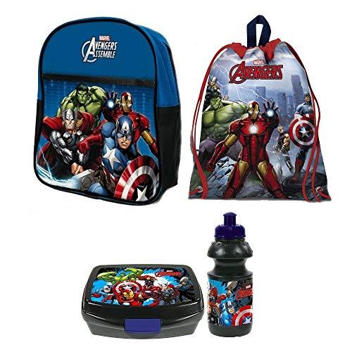 Avengers Hulk Iron Man Captain America Thor 4 Teile Set Rucksack Tasche Kindergarten Mit Sticker Von Kids4shop