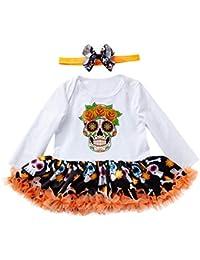 JYC Conjuntos Bebes,Conjuntos Bebe NiñA Algodon,Infantil Bebé Chicas Vestir MamelucoVestidos+Banda de Pelo Halloween Trajes