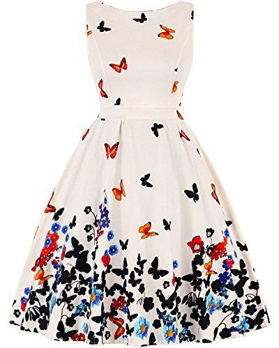 MERRYA Damen 1950s Retro Vintage Rockabilly Blumen Kleid Party Cocktail Kleider