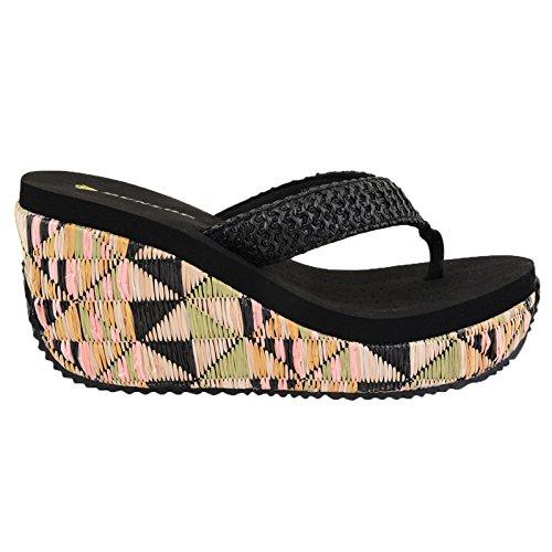 Dunlop-sandales pour femme avec haut talon korbgeflochten flip flops plage Noir - Noir