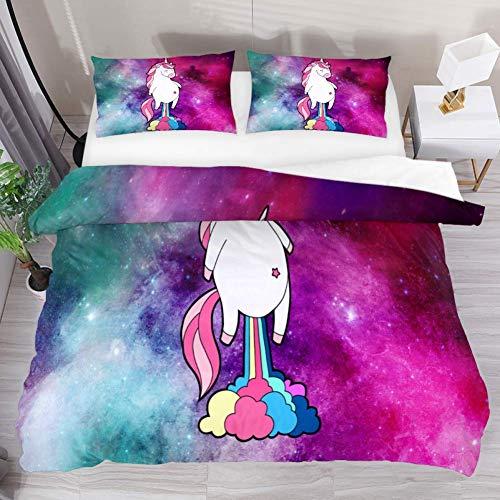 Soefipok Bettwäsche Bettbezug-Set Funny Unicorn Magic Galaxy Rainbow Tröster-Set mit 2 Kissenbezügen 3-teilig, 1 Bettbezug mit 2 Kissenbezügen -