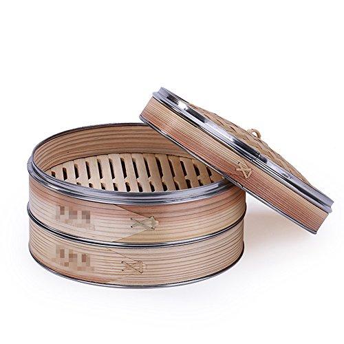 XICHENGSHIDAI Fabricación Vapor Vapor Cesta de bambú Chino de Postre Juego de Cocina al Vapor Dumplings Dos jaulas + una Tapa, 25 cm