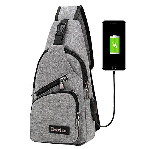 Aolvo Rucksack mit USB Lade-Port Anti-Diebstahl für Damen Herren, Casual Sling Bag Schulter Umhängetasche Brust Tasche Für Reisen/Wandern/Outdoor Sport, hellgrau
