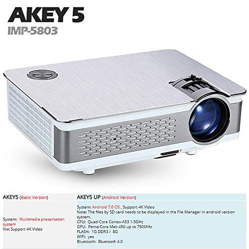 KAIDILA Full-HD-Projektor AKEY5 up 1920 * 1080P, 3.800 Lumen, Android-Beamer mit Wifi, Bluetooth, LED-TV Optional AKEY5 IMP-5803