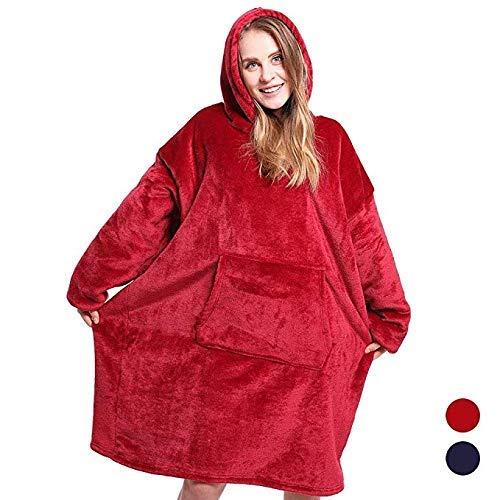 (WANZIJING The Original Comfy: Warmes, Weiches, Gemütliches Sherpa-Decken-Sweatshirt, Gesehen Auf Hai-Tank Für Erwachsene Und Kinder, Reversible, Kapuze Und Große Tasche, Einheitsgröße,Red)