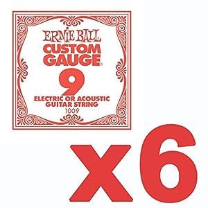 6 Pack Ernie Ball Custom Gauge 9 s Guitar Single Strings Electric / Acoustic