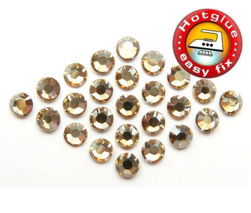 100 Stück SWAROVSKI ELEMENTS Hotfix, SS10 (Ø ca. 2,8 mm), Crystal Golden Shadow, Strasssteine zum Aufbügeln (Hotfix Strasssteine Ss10)