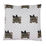 TupTam Kissenhülle Dekorativ Gemustert Dekokissen Baumwolle, Farbe: Katze mit Schleifchen / Grau, Größe: 40 x 40 cm