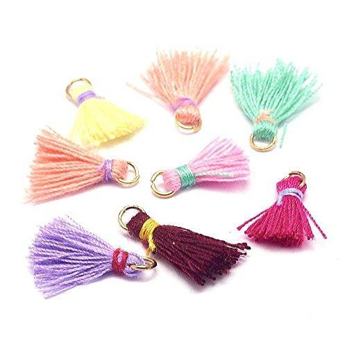 Angel Malone® 5x 20mm Mini zufällige Rainbow Mix Quasten Anhänger Crafts Nähen & Schmuck Making fndings