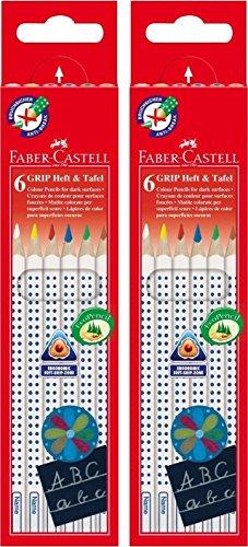 Faber-Castell 113210 - Buntstifte GRIP Heft + Tafel, 6er Etui, Inhalt: weiß, gelb, rot, blau, grün und braun (2)
