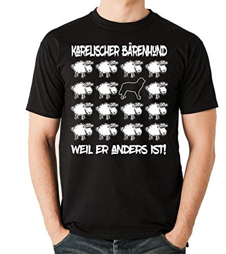 Siviwonder Unisex T-Shirt BLACK SHEEP - KARELISCHER BÄRENHUND - Hunde Fun Schaf Schwarz