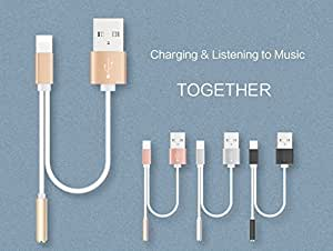 Bluebill basic iPhone 7- 7 Plus 8 Pin Lighting To Aux Headphone Earphone Jack Cable With USB Charging Charger Cable