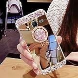 Hancda Hülle für Samsung Galaxy J5 2016/J510, Hülle Case Handyhülle Glitzer Spiegel Hüllen Diamant Glitter Bling Glänzend Cover Silikonhülle mit Ring Ständer Stand für Galaxy J5 2016/J510 - Gold