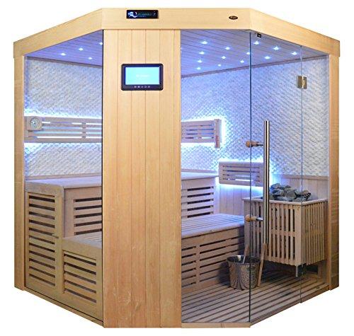 Saunakabine Sauna komplett Saunen Massivholz Traditionelle Sauna Video-Sauna AGNETHA 180 x 180 cm...