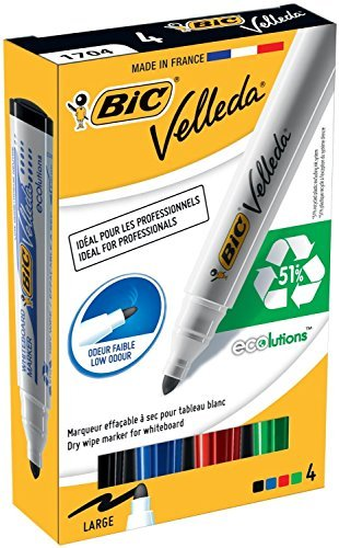 Bic Velleda 1701/1704 Whiteboard Marker Bullet Tip Line Width 1.5mm Assorted Ref 1199001704 [Pack of 4] by BIC America