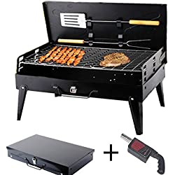SunJas Campinggrill, faltbare BBQ Holzkohlegrill, Outdoor Reisegrill, Tischgrill, Mini Grill für Picknick Party Barbecue, inkl. 2tlg Grillbesteck