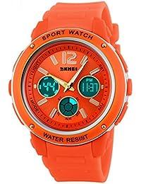 Naranja deporte resistente al agua muñeca relojes de cuarzo con retroiluminación